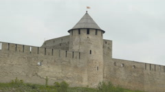 A huge Ivangorod castle in the border of Russia Stock Footage