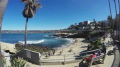 People Enjoying Beach Cove- La Jolla Marine Park- California Stock Footage