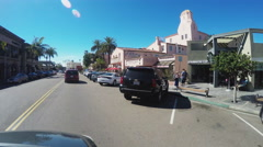 POV Driving La Jolla California Business District Stock Footage