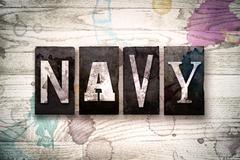 Navy Concept Metal Letterpress Type Stock Illustration
