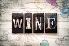 Wine Concept Metal Letterpress Type Stock Illustration
