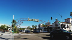 Downtown Encinitas California Intersection With Sign And Traffic Stock Footage