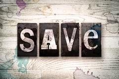 Save Concept Metal Letterpress Type Stock Illustration