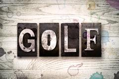 Golf Concept Metal Letterpress Type Stock Illustration