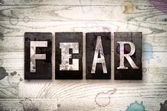 Fear Concept Metal Letterpress Type Stock Illustration