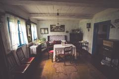 Kluki,Poland-September 16,2015:Room in old village house in folk museum Kluki Stock Photos