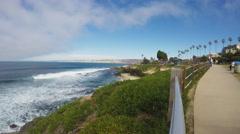 Wide Shot La Jolla California Coast With Crashing Waves Stock Footage