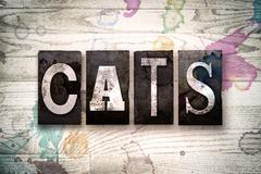 Cats Concept Metal Letterpress Type Stock Illustration