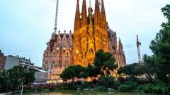 Barcelona Sagrada Familia at night Stock Footage
