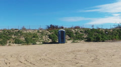 Porta Potty Outhouse- Mission Bay- San Diego California Stock Footage