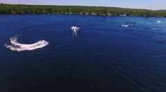 Aerial shot of Jet skis on a lake Stock Footage