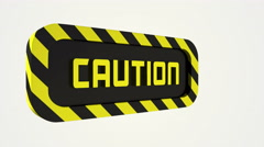 Rotating caution sign. Stock Footage