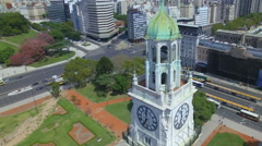 Argentina Buenos Aires flying over Torre de los Ingleses HD Stock Footage