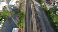 Rural Train Tracks Flyover Stock Footage