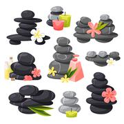 Relax stones vector set - stock illustration