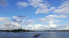 Neva river split water area vessels traffic, beautiful clouds time lapse shot Stock Footage