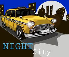 Taxi on the background of night city Stock Illustration