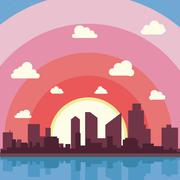 City on a background sunset. Silhuette of town Stock Illustration