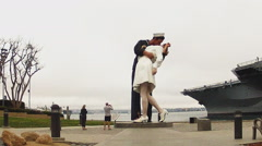 Unconditional Surrender Statue With Tourists- San Diego CA Stock Footage