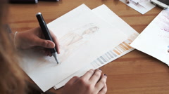 Hand drawing felt-tip pen on white paper sheet Stock Footage
