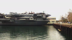 USS Midway Aircraft Carrier Museum Pan- San Diego CA Stock Footage