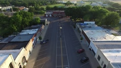 Small Town Strip Flyover Stock Footage