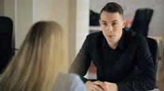 Man is having work interview in business company Stock Footage