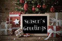 Nostalgic Christmas Tree With Seasons Greetings, Snowflakes Kuvituskuvat