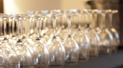 A display of wedding glasses ready for service Stock Footage