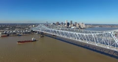 Excellent aerial shot of the Crescent City Bridge over the Mississippi River Stock Footage