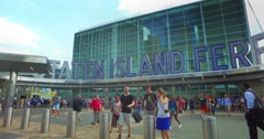 Staten Island Ferry Entrance Establishing Shot Stock Footage