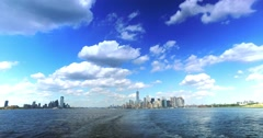 Skyline of Lower Manhattan and Jersey City as Seen from Staten Island Ferry Stock Footage