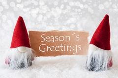 Red Gnomes With Card, Text Seasons Greetings Stock Photos