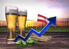 Rising beer consumption in Austria. 3D render Stock Illustration