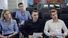 People are having working meeting in conference hall Stock Footage