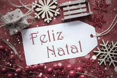 Nostalgic Decoration, Label With Feliz Natal Means Merry Christmas Stock Photos