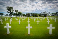 Graves at the Manila American Cemetery & Memorial, in Taguig, Metro Manila, T Stock Photos