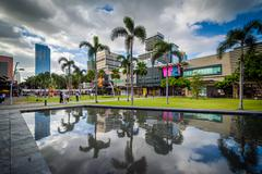 Palm trees and modern buildings reflecting in a pool at Bonifacio Global City Stock Photos