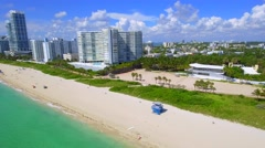 Aerial Miami Beach 70th Street Collins Ave Stock Footage