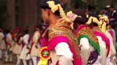 Line of Hindu dancers during a festival, narrow depth of field, back shot. Stock Footage
