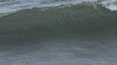 Slow Motion of large ocean waves in storm Stock Footage