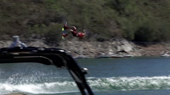 Wakeboard sport in river  - Zezere, Portugal Stock Footage