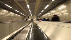 London: Escalator descent Hyperlapse into tube station Stock Footage