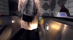 LONDON U.K. - CIRCA 2016 - Entering an escalator descending into tube station Stock Footage