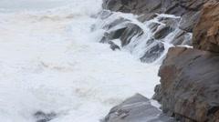 Slow Motion shot huge ocean waves on coastline in storm Stock Footage