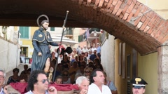 RIO MARINA - ITALY - AUGUST 2016 - Procession with the statue of San Rocco Stock Footage
