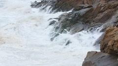 Slow Motion shot huge ocean waves on the coastline in a storm Stock Footage