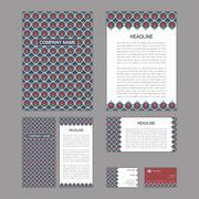 Set of abstract brochure templates. leaflet, banner, flyer, business card. Et Stock Illustration