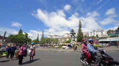 People coming to the market in Dalat city downtown Stock Footage