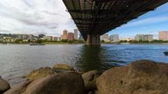 Time lapse over Portland Oregon along Willamette River with Hawthorne bridge 4k Stock Footage
